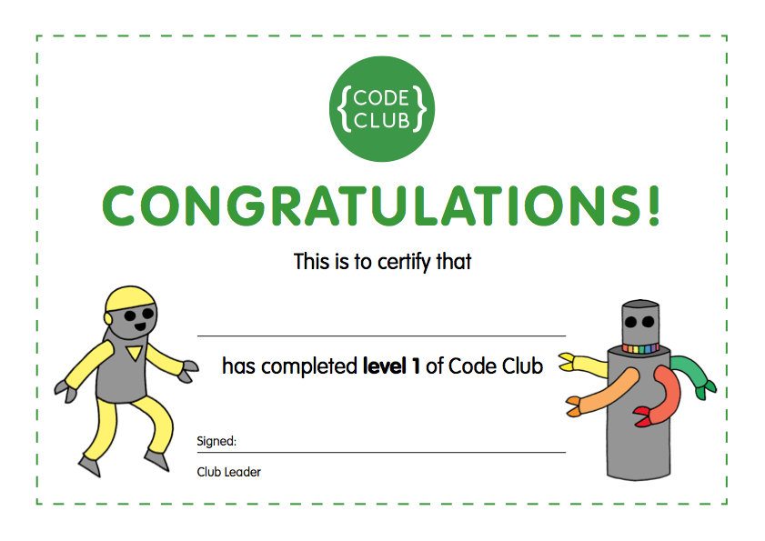 Code Club Level 1 Certificate